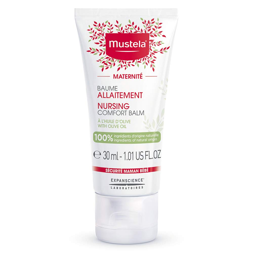 Mustela Nursing Comfort Balm with Olive, Nipple Cream for Maternity and Breastfeeding, Vegan, Plant-Based, 1.01 fl. oz