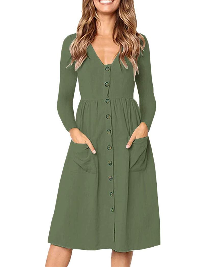KAY SINN Womens Spring Dresses Casual Long Sleeve Midi Dress Button Down Swing Dress with Pockets