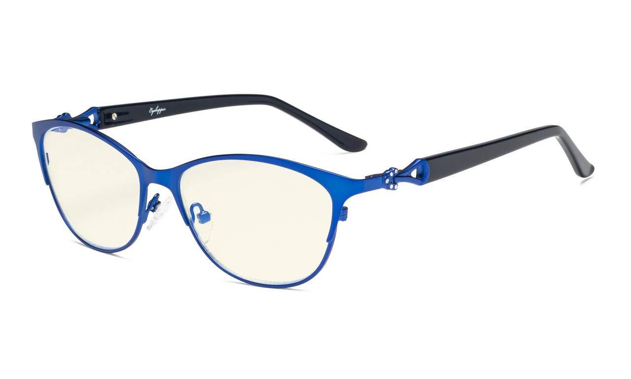 Eyekepper Computer Reading Glasses,Blue Light Filter Readers,Stylish Cateye Oval Reading Eyeglasses Women,Blue +1.25