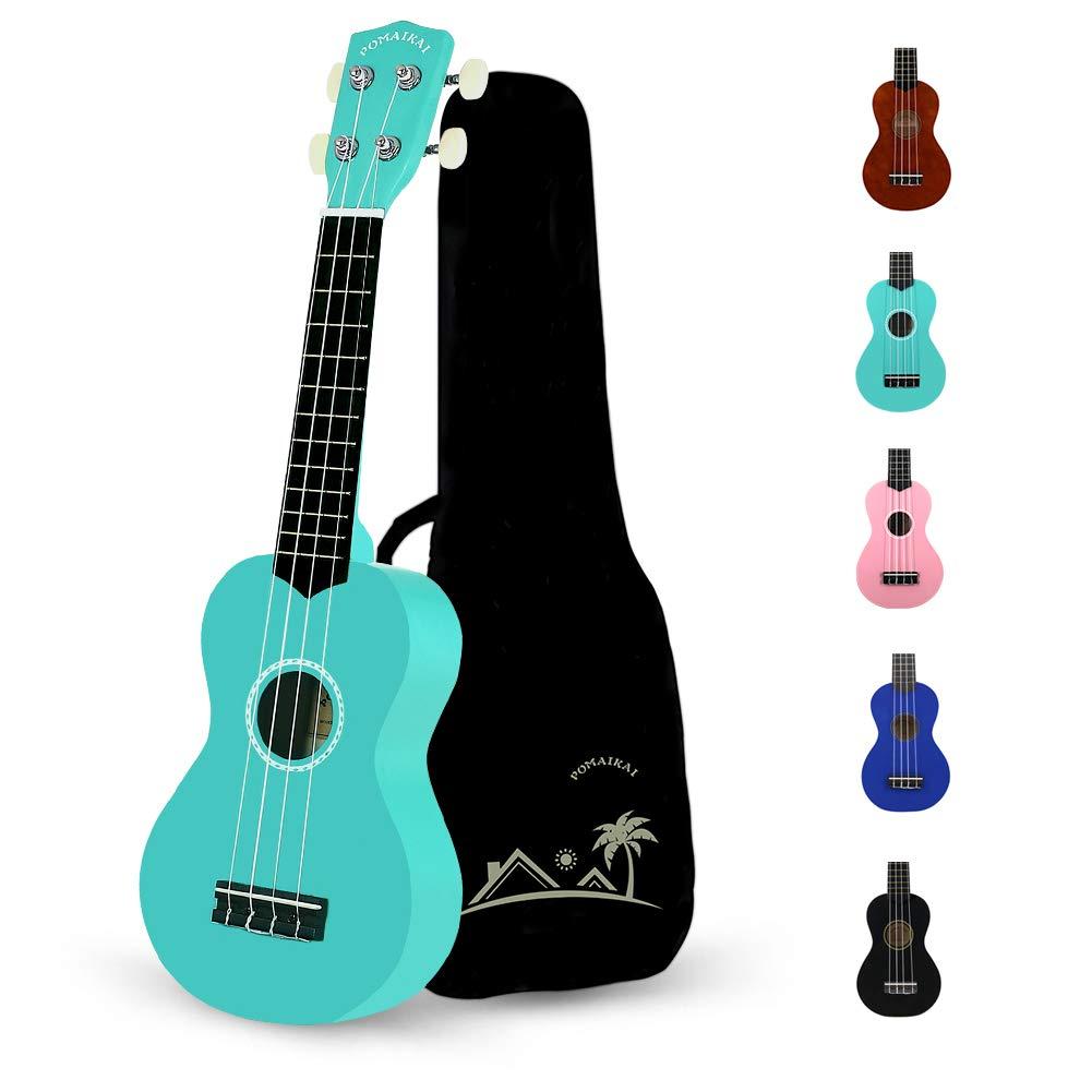 POMAIKAI Soprano Wood Ukulele Rainbow Starter Uke Hawaii kids Guitar 21 Inch with Gig Bag for kids Students and Beginners (Blue)