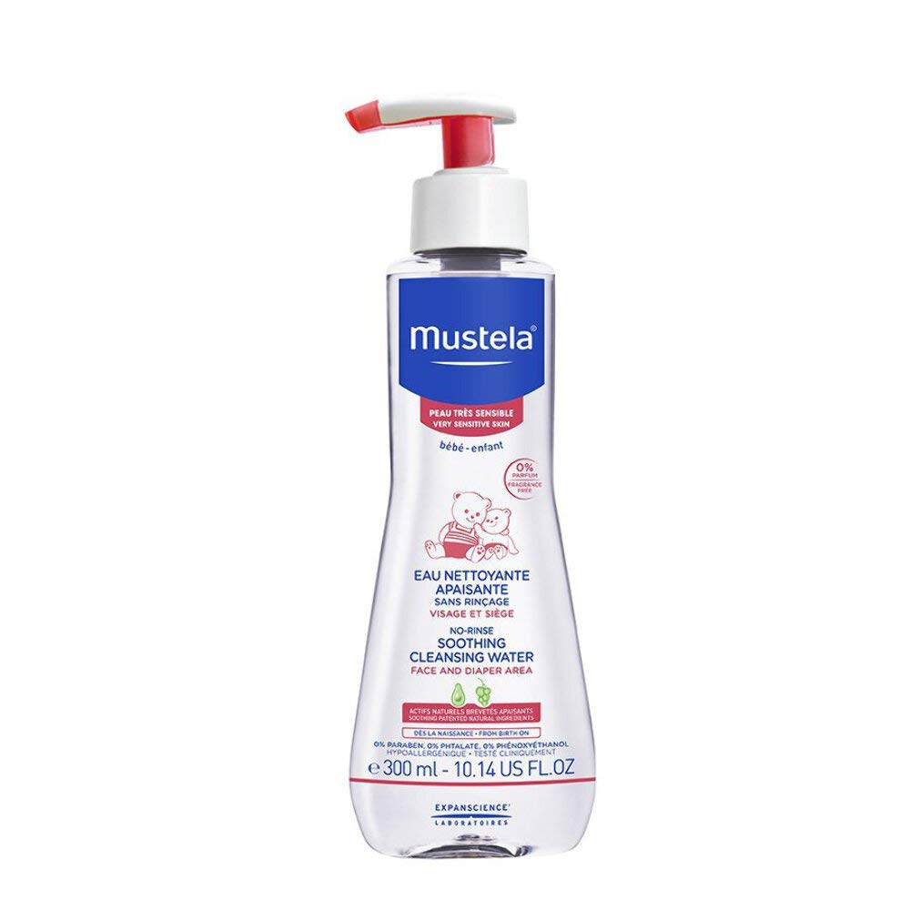 Mustela No-rinse Soothing Cleansing Water, Micellar Water Cleanser for Baby's Very Sensitive Skin, with Natural Avocado Perseose, 10.14 ounce