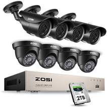 ZOSI 8CH 1080P Security Camera System with 2TB Hard Drive,8 Channel Full 1080P HD Video DVR Recorder with 8X 1080P HD Indoor Outdoor Weatherproof CCTV Cameras with 120ft Long Night Vision