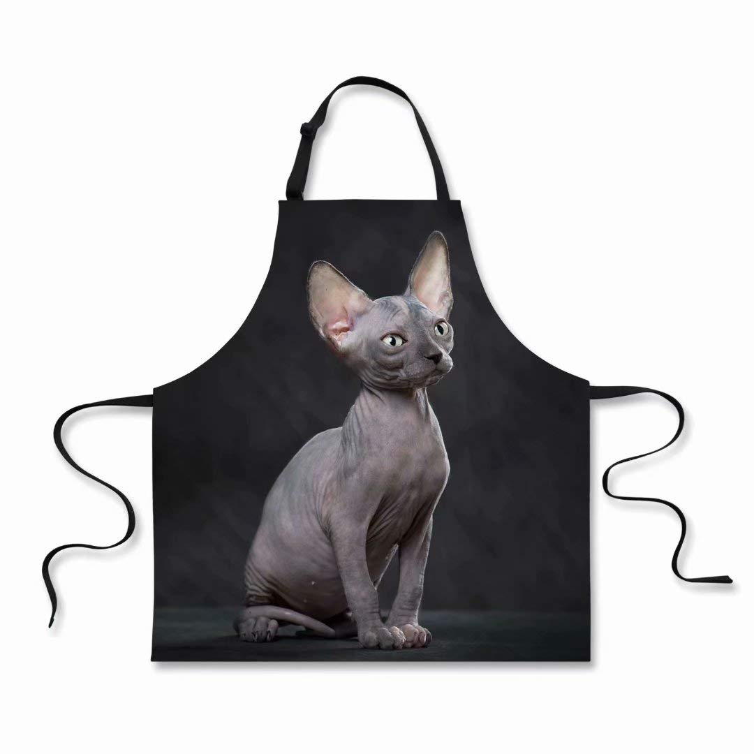 """Dellukee Funny Apron for Women Men Cute Hairless Cat Printed Kitchen Adjustable Neck Unique Cool Waterproof Aprons for Home Restaurant BBQ Grill, 29.5"""" x 26.3"""""""