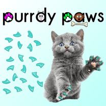 Purrdy Paws 40-Pack Soft Nail Caps for Cat Claws Turquoise