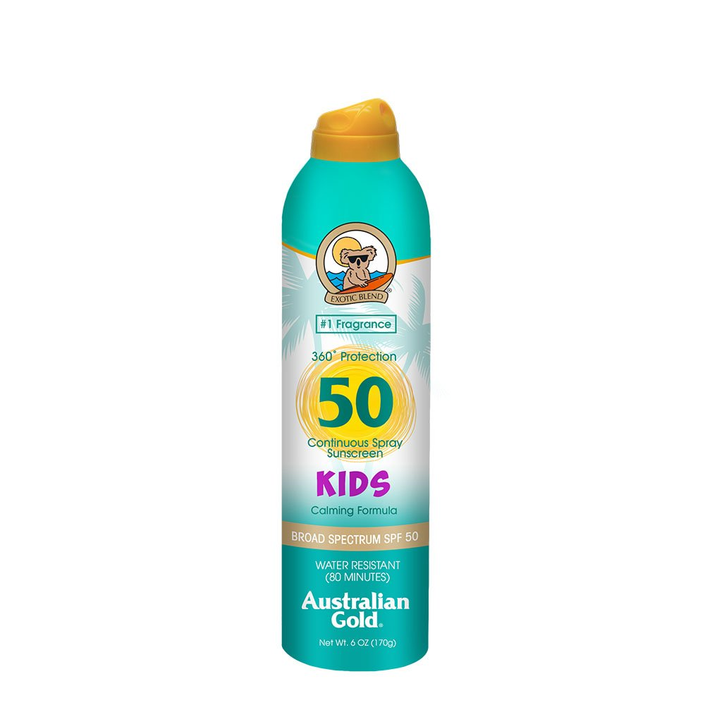 Australian Gold Kids Continuous Spray Sunscreen SPF 50, 6 Ounce | Formulated for Sensitive Skin | Broad Spectrum | Water Resistant