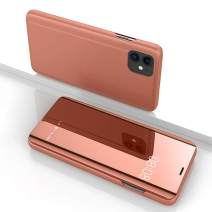 WPCase Case Compatible for iPhone 11 2019 6.1 Inch Smart PU Wallet Protective Flip Kickstand Cover Phone Case with Mirror Surface for iPhone 11-Rose Golden (6.1 Inch)