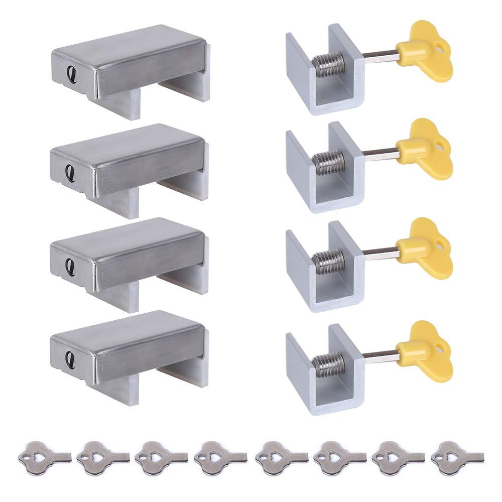 Sliding Window Locks Stopper,KISSTAKER 8 Pack Adjustable Aluminum Door Security Bars with Keys for Children,Shutter Safety Guard Sash Latch for Home & Office
