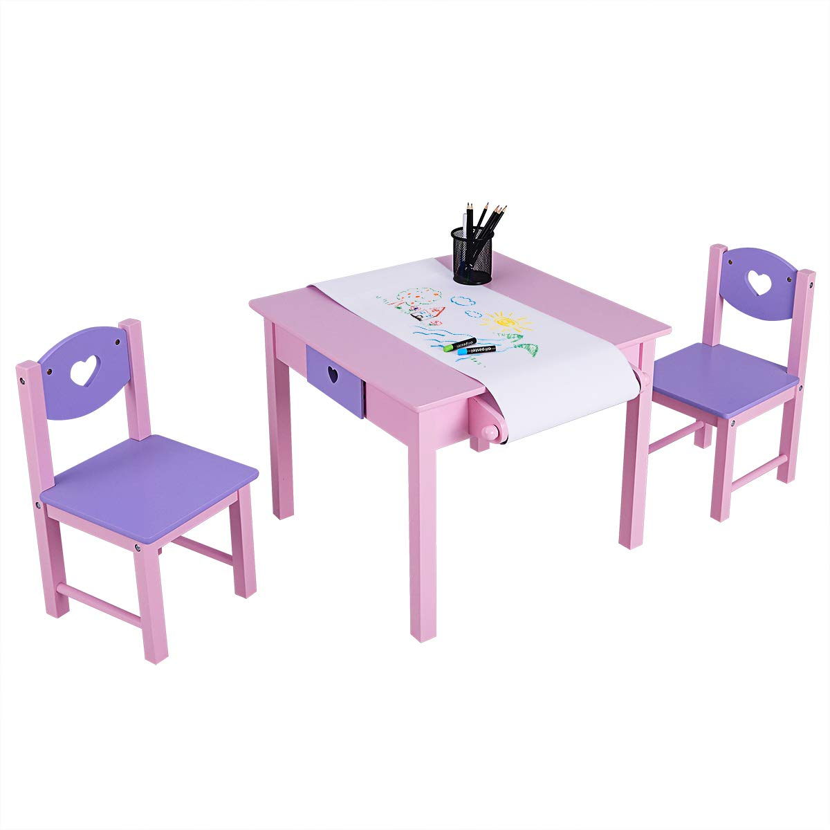 Baby Joy Kids Wood Table and 2 Chair Set, 3 in 1 Children Art Table with Paper Roll Rack and Storage for Toddlers Drawing, Reading, Dining, Art Playroom, 3 Piece Kiddy Painting Desk Chair Set