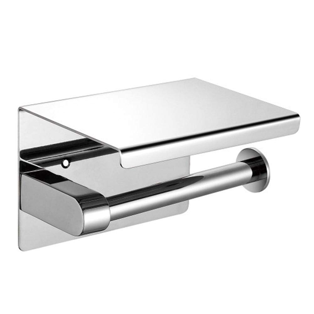 Toilet Roll Paper Holder Stainless Steel 304 Wall Mounted Bath Accessory Storage Tissue Holder with Shelf (Silver)