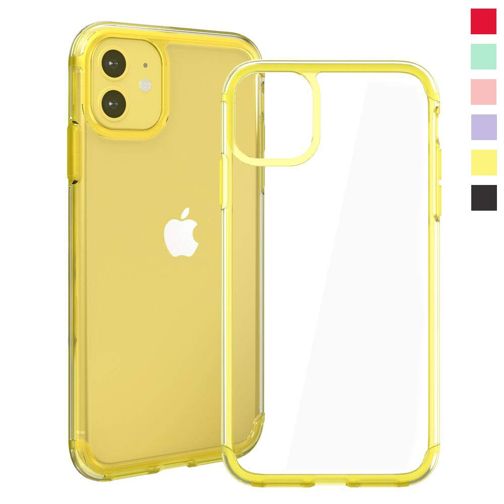 Inbeage Transparent iPhone 11 Case Colorful iPhone 11 Case with Matching Color Edge Full-Protective Shockproof Slim Case for iPhone 6.1inch (Yellow)
