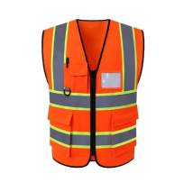 HYCOPROT Reflective Safety Vest, High Visibility with Wide Reflective Strips, Zipper Front Multi Pockets Construction Breathable Lightweight Waistcoat (XL, Orange)