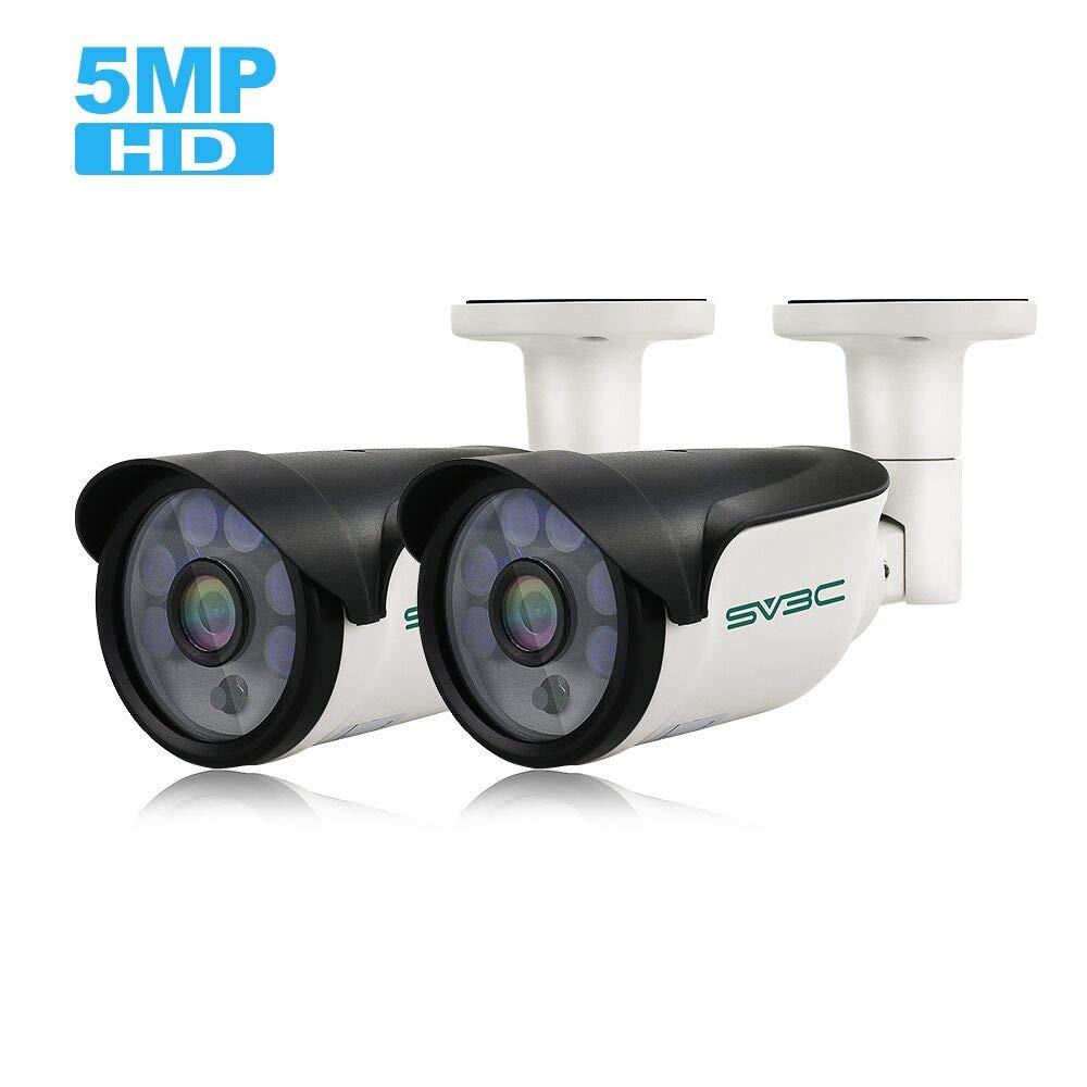 SV3C IP POE Camera Security Outdoor 5 Megapixels Super HD 2592x1944 H.265 Waterproof Cam Onvif IR Night Vision Motion Detection(2 Pack)