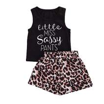 hujukuludusu Toddler Girl Summer Outfit Vest Tops Sunflower Shorts 2pcs Baby Girl Outfit Suit (Little Miss Sassy Pants Tops+ Leopard Short, 1-2 Years)
