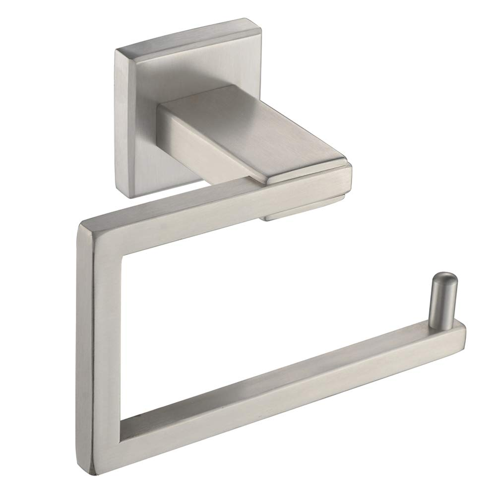 Square Toilet Paper Holder, Angle Simple SUS304 Stainless Steel Bathroom Tissue Holder, Open Side Toilet Tissue Roll Hanger Wall Mount, Brushed Nickel