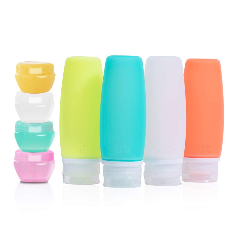 Silicone Travel Bottle, 3.4 oz 4 Pack TSA Approved Leak Proof Containers,Protable 4 Pack 10ml PP Cream Jars, Refillable Travel Accessories for Shampoo Liquids, Lotion Soap