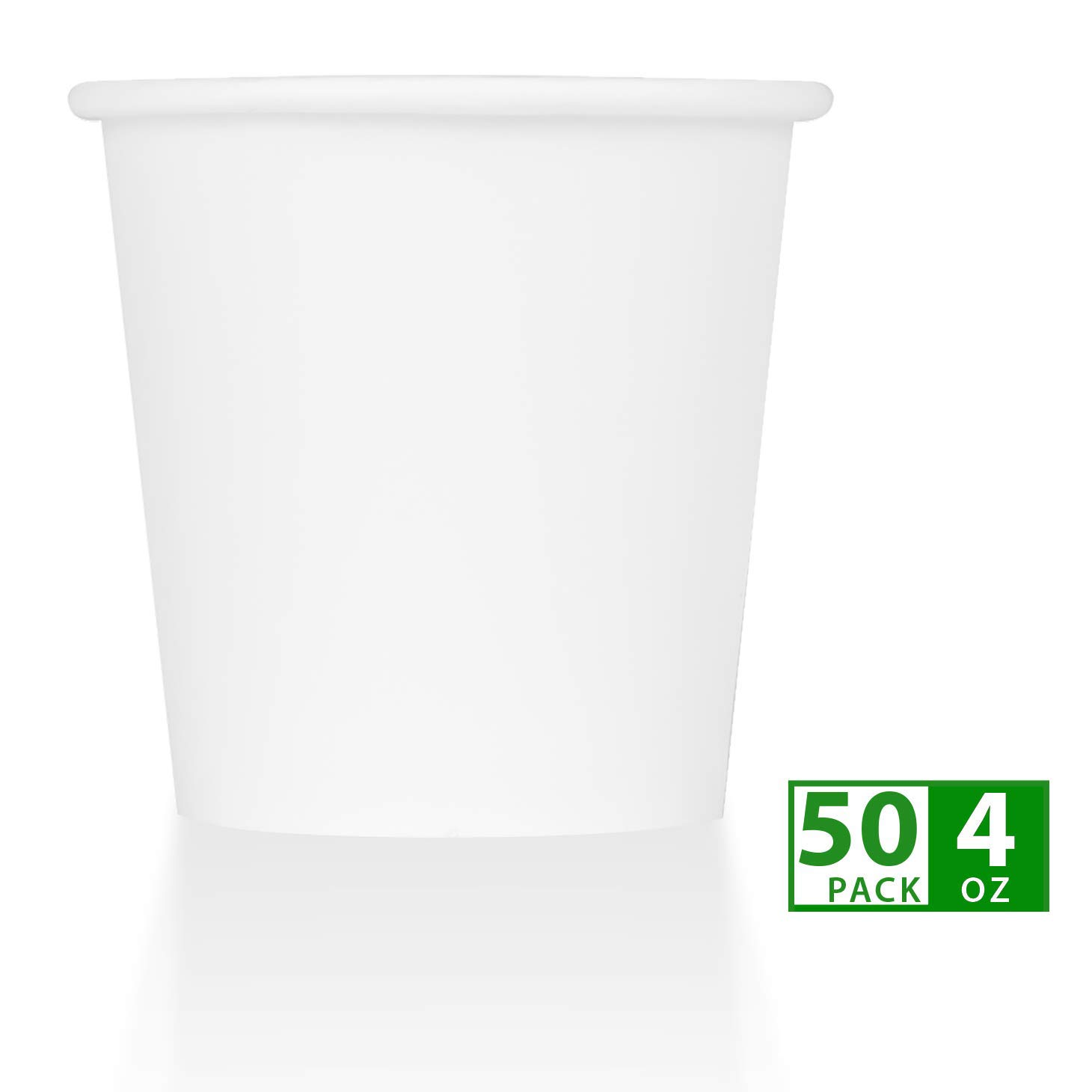 ZenCo Compostable Disposable Paper Cups - 50 Pack 4oz Hot/Cold Beverage Disposable Drinking Cup White - Eco Friendly Cups for Office, Catering, Picnics or Birthdays (50 Count, 4 Ounce)