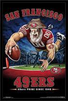 """Trends International NFL San Francisco 49ers - End Zone, 22.375"""" x 34"""", Black Framed Version"""