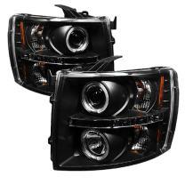 Spyder Auto PRO-YD-CS07-HL-BK Chevy Silverado 1500/2500/3500 Black Halogen LED Projector Headlight