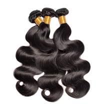Brazilian Body Wave Human Hair 3 Bundles Virgin Hair Weave Weft Bundles Natural Black Hair Extensions(18 20 22)