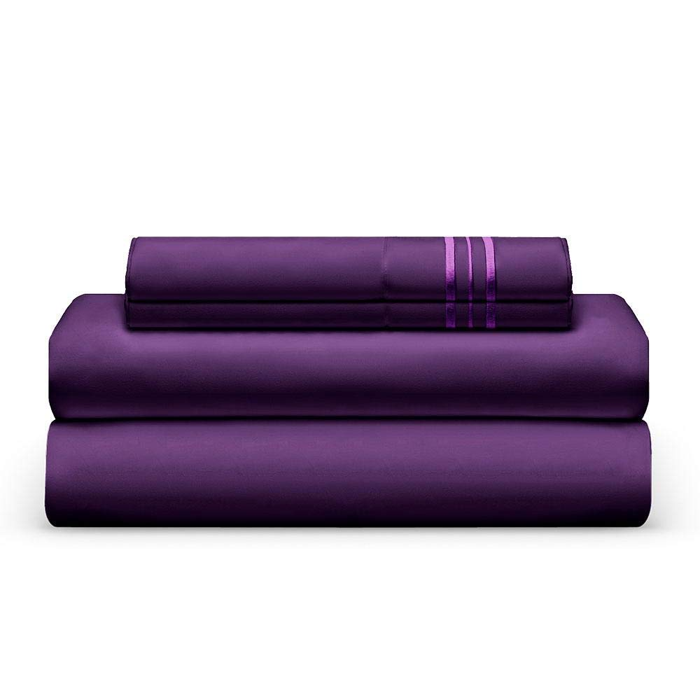 THE BEDSHEET CLUB 1800 Thread Count Bed Sheet Set - 1 Fitted & 1 Flat Sheets, 2 Pillow Cases - Best Double Brushed Microfiber - Soft & Cool, with Deep Pockets & Thick Elastic - King - Plum