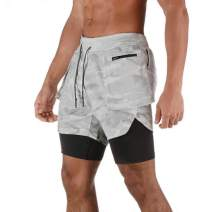 MECH-ENG Men's 2-in-1 Shorts Athletic Running Training Gym Fitness Quick Dry Workout Short