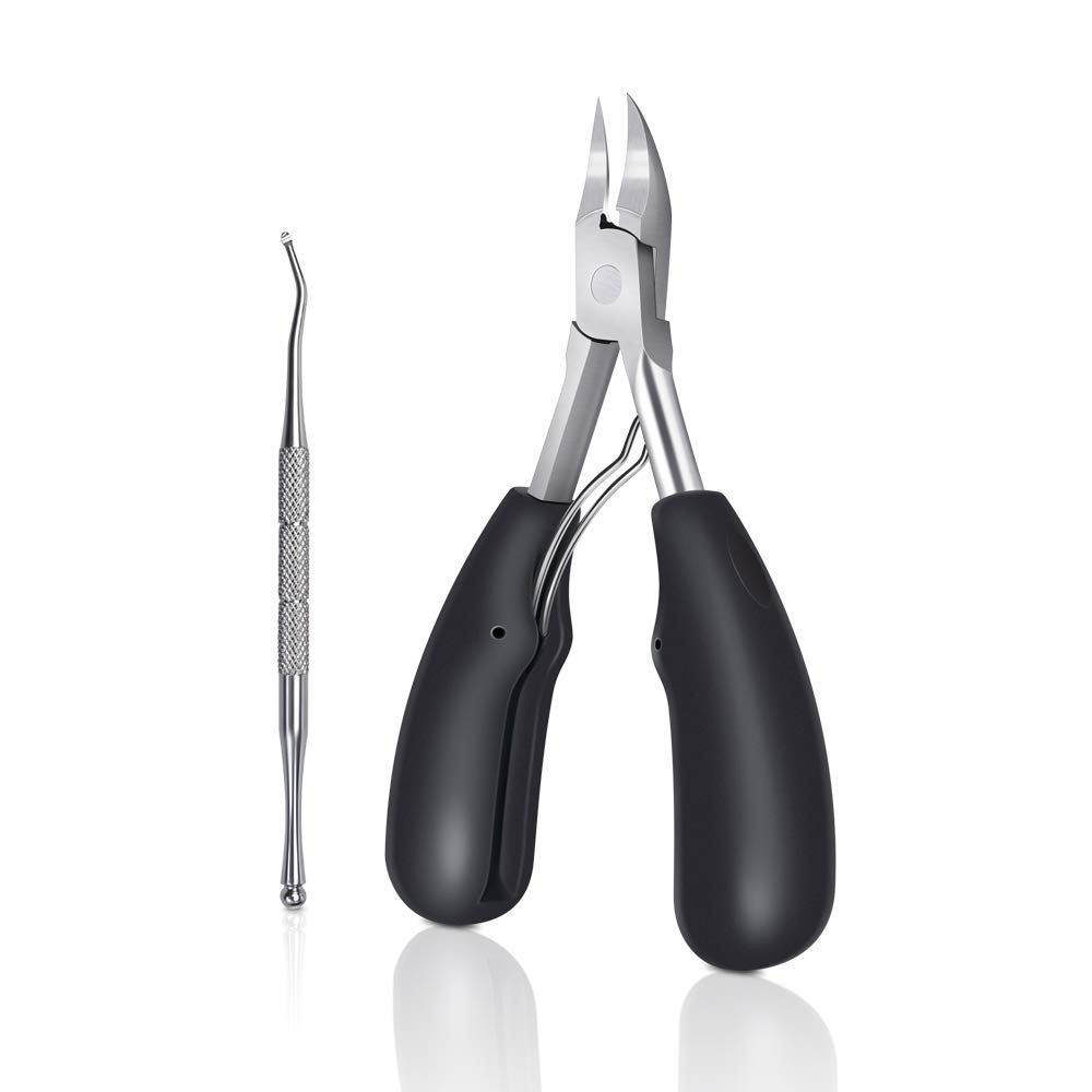 CHUHUAYUAN Toenail Clippers for Thick Toenails, Sharp Blade Nails Nipper Professional Stainless Steel Ingrown Toenail Tool Set with Nail Lifter, Heavy Duty Nail Trimmer with Easy Grip Large Handle