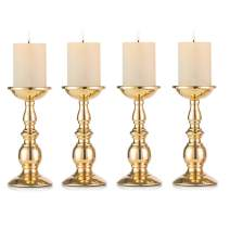 Nuptio Set of 4 Gold Metal Pillar Candle Holders, Flameless Candlestick Holders Stand Centerpieces Decoration Ideal for Weddings, Special Events, Parties