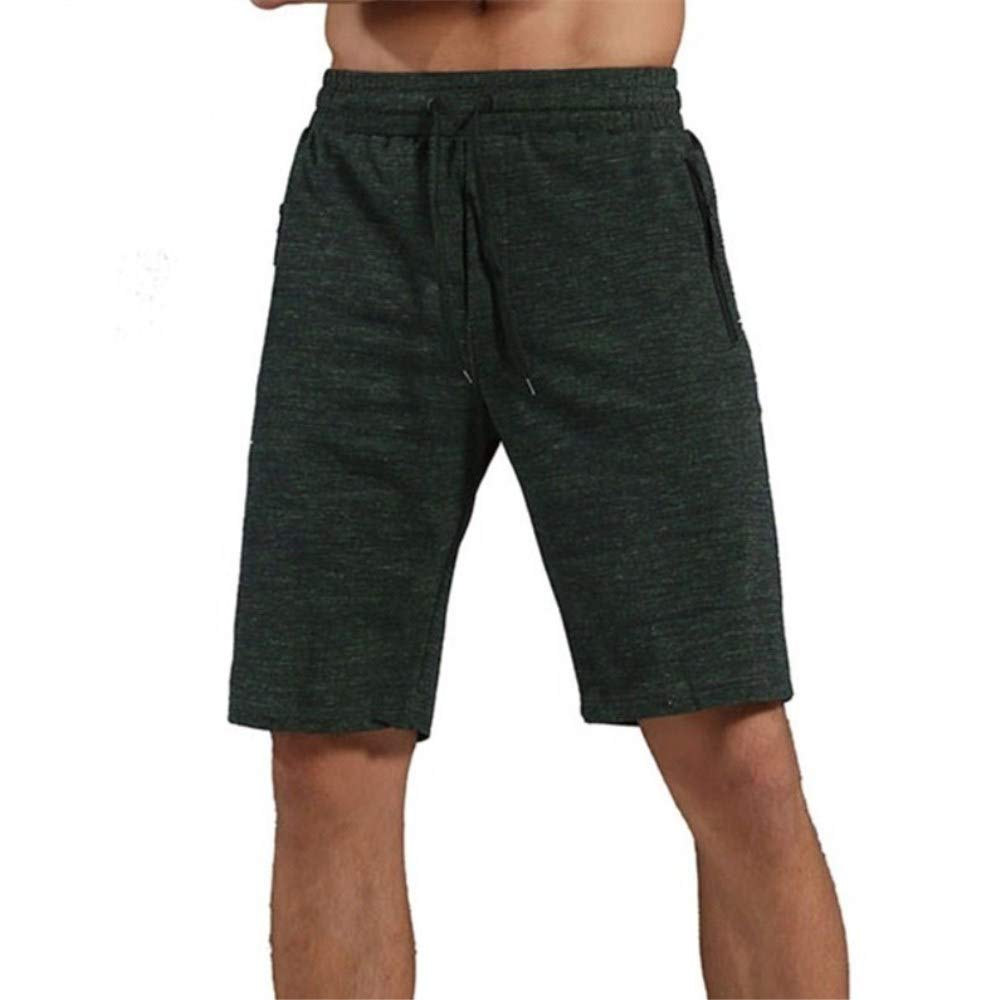 ENIDMIL Mens Sport Shorts Elastic Waist with Pockets Quick Dry Stretchable for Running, Training, Workout Swim (Dark Green(95% Cotton), L)