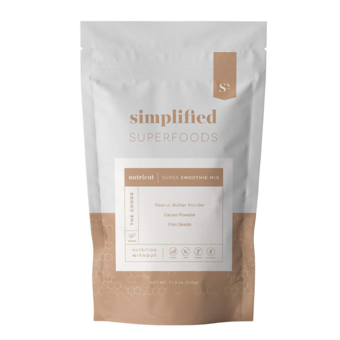 Plant Based Superfood Smoothie Mix (Peanut Butter Cacao) 19 Servings | 6g of Protein | 4g of Fiber | 3g of Fat | Gluten Free | Vegan | <1g Sugar