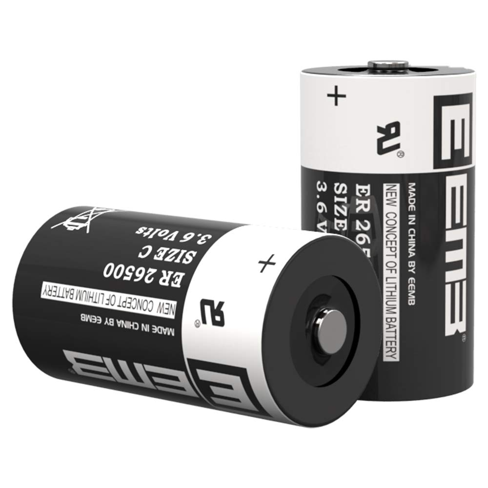 EEMB 3.6 V C Size Lithium Battery Cell ER26500 Li-SOCl2 9000 mAh Lithium Thionyl Chloride Battery UL Certified High Capacity Batteries (2)