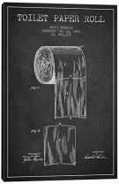 "iCanvasART Toilet Paper Charcoal Patent Blueprint Canvas Print 40"" x 26"""
