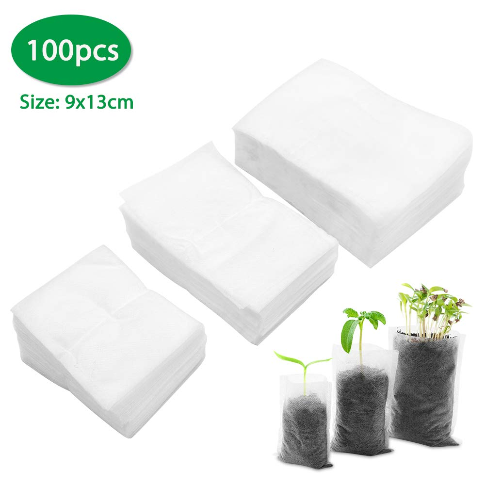 Acelane 100pcs Biodegradable Non-Woven Nursery Bags Fabric Seedling Bag Plant Grow Bags Seed Starter Bags Soil Pots Plants Transplant Pouches Home Garden Supply