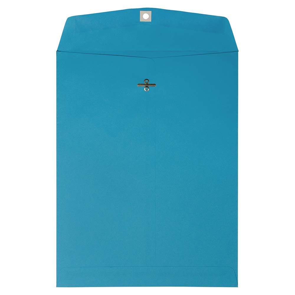 JAM PAPER 10 x 13 Open End Catalog Colored Envelopes with Clasp Closure - Blue Recycled - 50/Pack