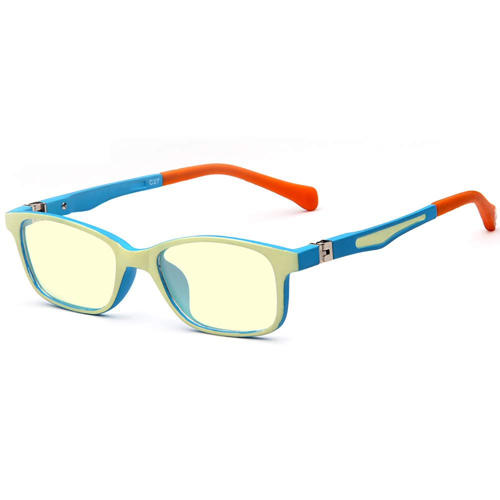180° Hinges TR90 Computer Glasses for Kids Blue Light Blocking Glasses for Girls. Anti-Glare,Anti- UV and Computer/TV/Tablet Radiation Protection Goggles Blue