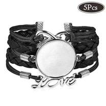 """25mm Multilayer Blank Bracelets with Round Bezels Trays Cabochon for Jewelry Making Black Adjustable Bangles Fit 1"""" Dome 5Pcs"""