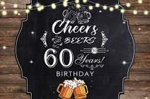 Baocicco 6x4ft Polyester Photography Backdrop for 60th Birthday Party Background Cheers and Beers to 60 Years Birthday Backdrop Beer Mugs Shiny Bulbs Wood Plank Black Board Photo Props