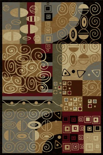 Universal Rugs 108773 Black 8x11 Area Rug, 7-Feet 10-Inch by 10-Feet 3-Inch