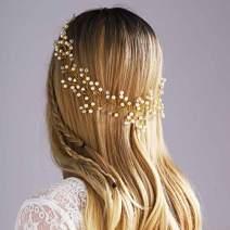 Yean Babys Breath Hair Piece Wedding Hair Vine Sillver Rhinestone Headband Bridal Branch Crystal Wreath Crown Bridal Flower Vine Accessories for Bride and Bridesmaid - 15.74inches (Gold)