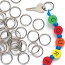 Baker Ross Split Metal Keyrings Value Pack— Ideal for Keychain-Making, Kids' Arts and Crafts, Gifts, and More (Pack of 100)