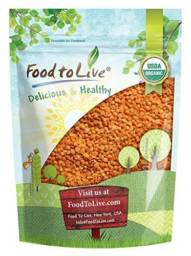 Organic Red Split Lentils by Food to Live (Dry Beans, Non-GMO, Kosher, Raw, Masoor Dal, Bulk) — 1 Pound