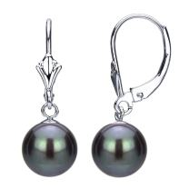 Sterling Silver 9-9.5mm Round Dyed-black Freshwater Cultured Pearl Design Lever-back Earrings