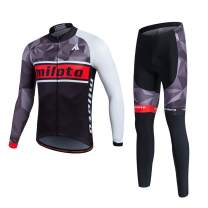 MILOTO Men's Cycling Fleece Jersey Set Long Sleeve Padded Pants Suit