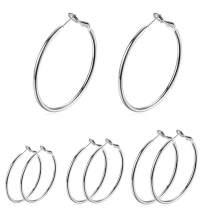 4 Pairs Large Hoop Earrings for Women Girls, Stainless Steel Earring Hoops Gold Earring Set Gold Plated Tone Fashion Jewelry
