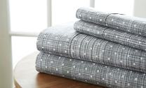 Simply Soft 4 Piece Sheet Set Polkadot Patterned, Queen, Gray