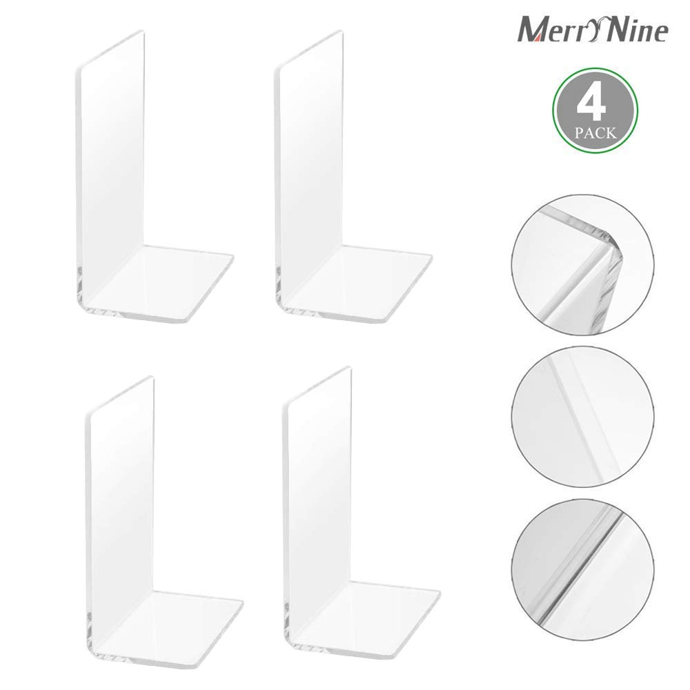 MerryNine Plastic Acrylic Bookends Pair Organizer Bookshelf Decor Decorative Bedroom Library Office School Supplies Stationery Gift (Plastic Acrylic_2 Pairs)