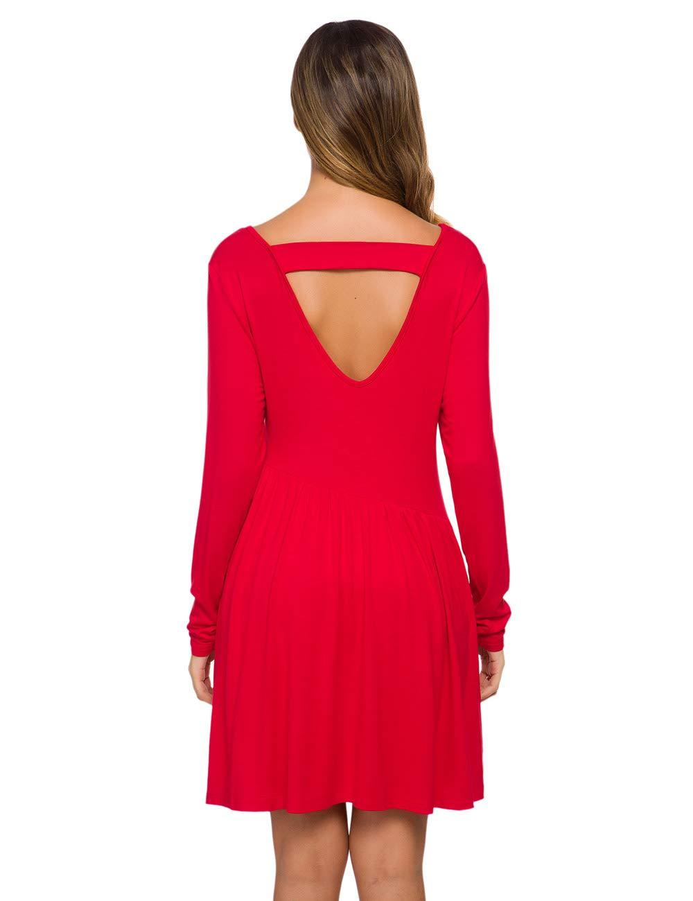 Long Sleeve Short Dresses Casual Loose Dress Back V Neck Tunic Dress