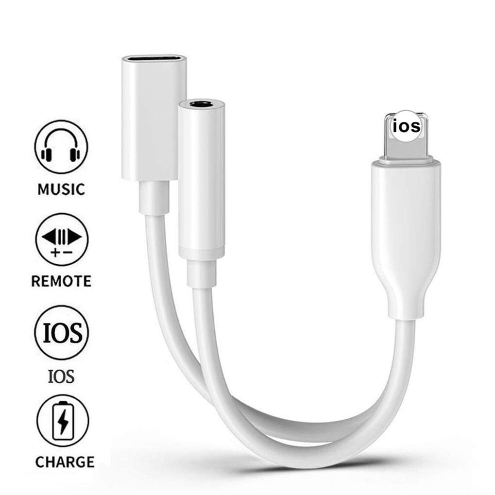 Adapter for iPhone Headphone Dongle 3.5 mm Jack Audio Charging Adaptor for iPhone X/Xs Max/XR/8/8Plus/7/7Plus Dual Ports Car Charger & AUX Adapter Connector Earphones Splitter Support All iOS - White
