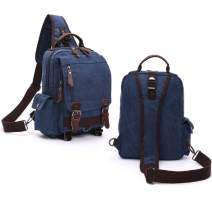 TyCan Small Carry-on Daypack Canvas Crossbody Messenger Bag Travel Sling Bag,Deep Blue