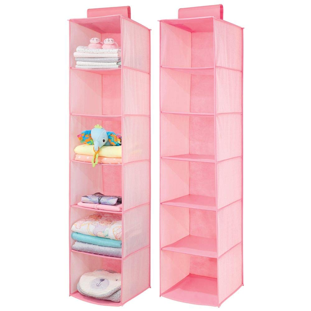 mDesign Long Soft Fabric Over Closet Rod Hanging Storage Organizer with 6 Shelves for Child/Kids Room or Nursery - Herringbone Print, 2 Pack - Pink