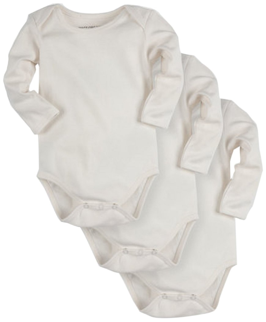 PACT Baby 3-Pack 100% Organic Cotton Long Sleeve Bodysuit   White
